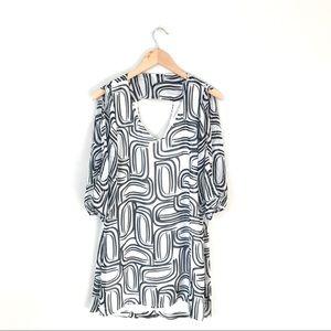 Bisou Bisou Black and White Cold Shoulder Dress